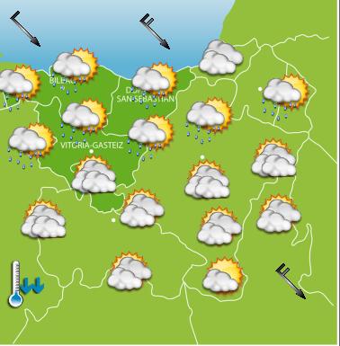 Mapa con la previsión para hoy